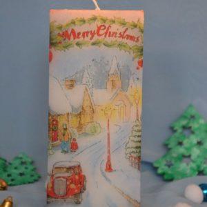 """Свічка """"Різдвяна вулиця"""" (квадратна)"""