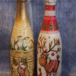 Декоровані пляшки шампанського. Техніка: декупаж на склі. Автор: Галина Махет. 2013